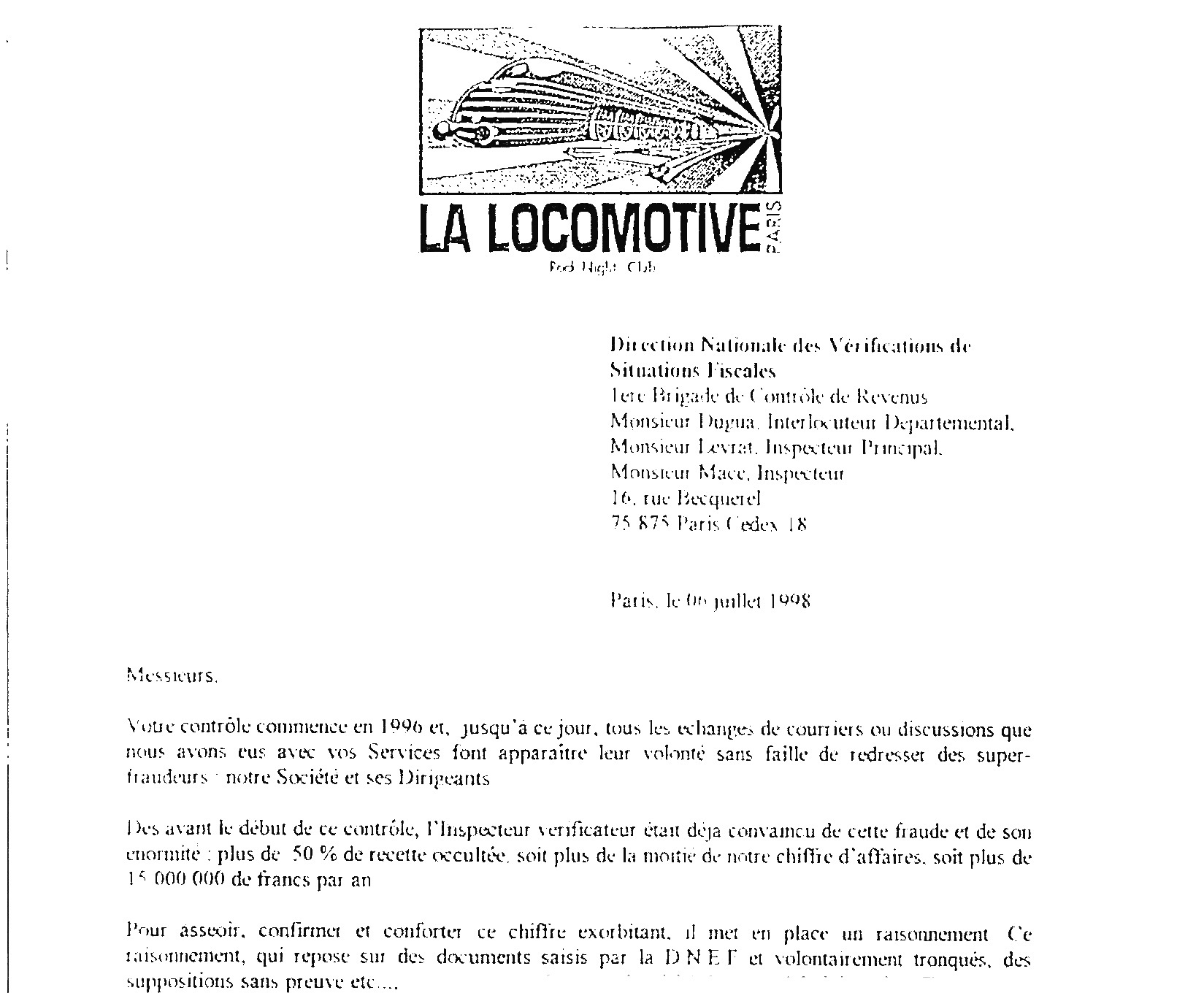 OK entame lettre fisc 1998
